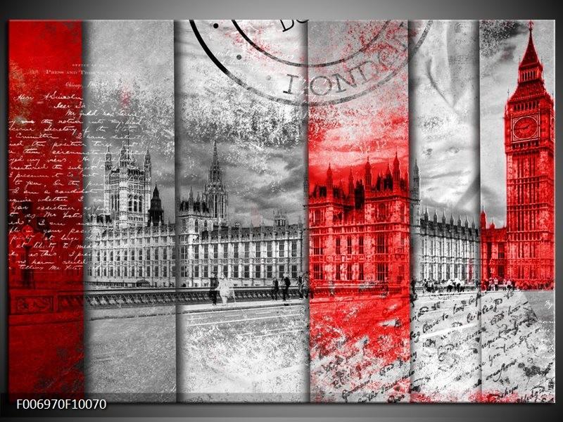 Canvas Schilderij Engeland, London | Grijs, Rood, Zwart