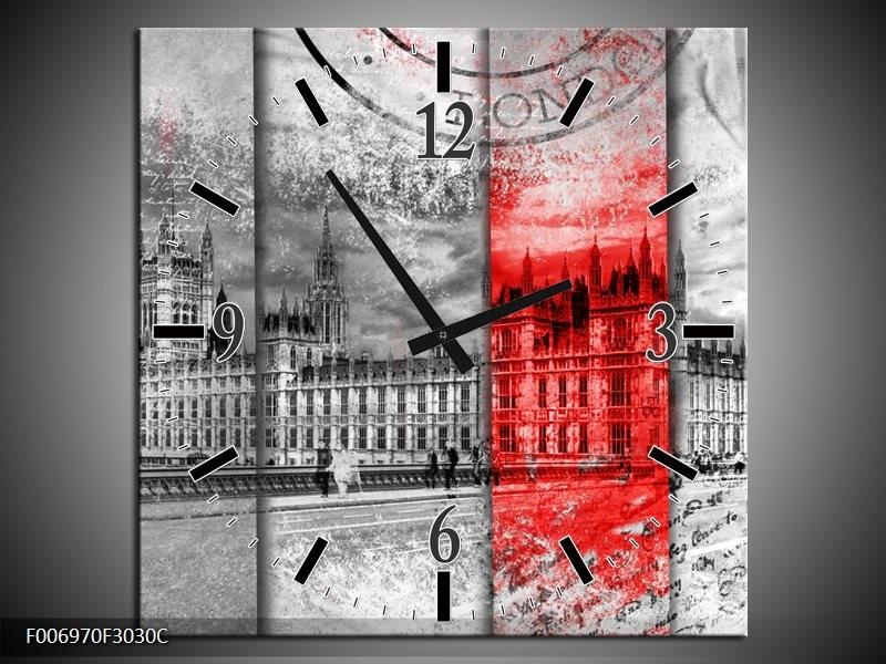 Wandklok Schilderij England, London | Grijs, Rood, Zwart