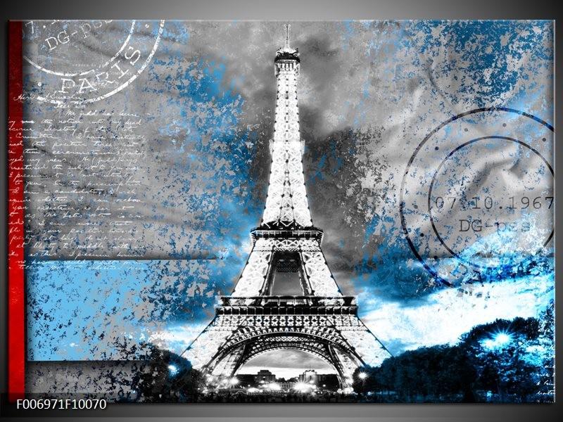 Canvas Schilderij Parijs, Eiffeltoren | Grijs, Blauw, Zwart