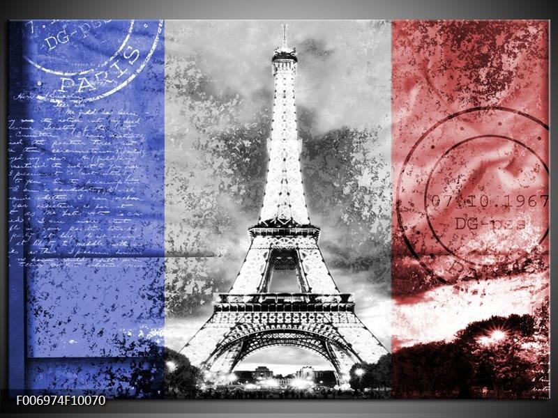 Canvas Schilderij Parijs, Eiffeltoren   Grijs, Rood, Blauw