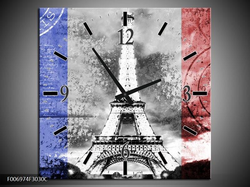 Wandklok Schilderij Parijs, Eiffeltoren | Grijs, Rood, Blauw