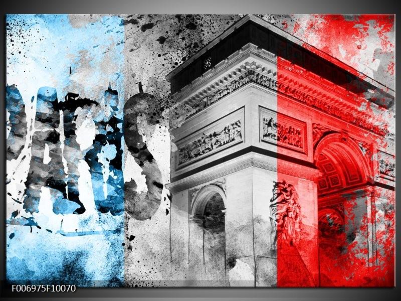 Canvas Schilderij Parijs, Steden | Blauw, Rood, Grijs