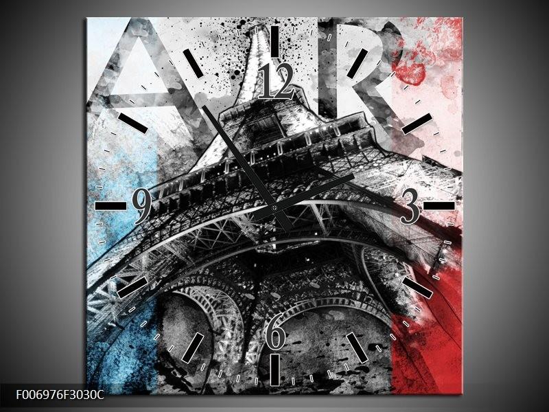 Wandklok Schilderij Parijs, Eiffeltoren | Blauw, Rood, Zwart