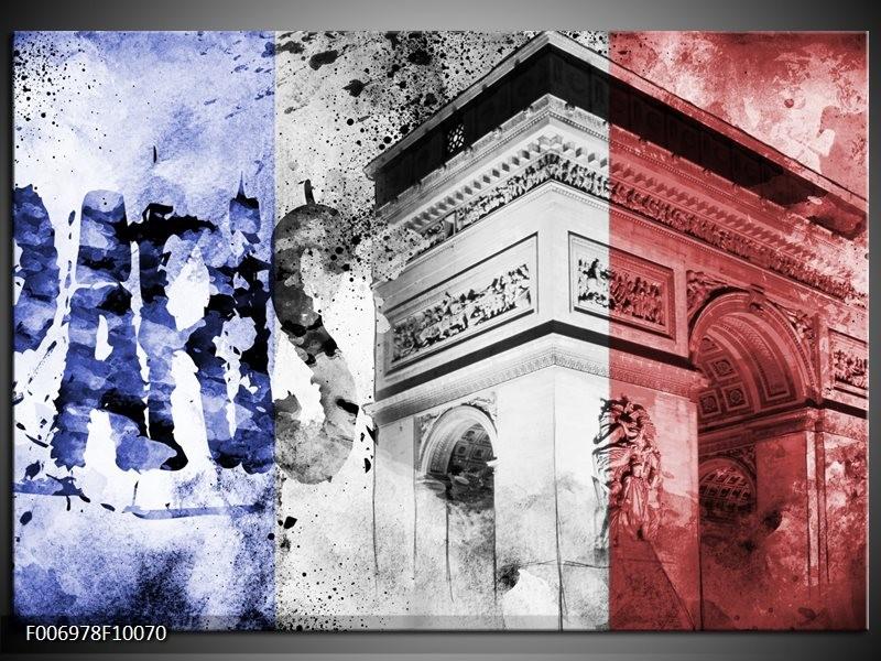 Canvas Schilderij Parijs, Steden | Blauw, Rood, Zwart