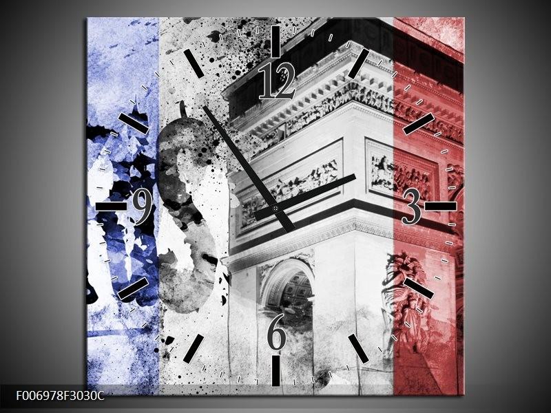 Wandklok Schilderij Parijs, Steden   Blauw, Rood, Zwart