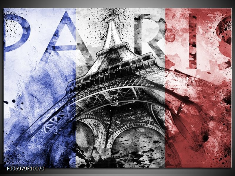 Canvas Schilderij Parijs, Eiffeltoren   Blauw, Rood, Zwart