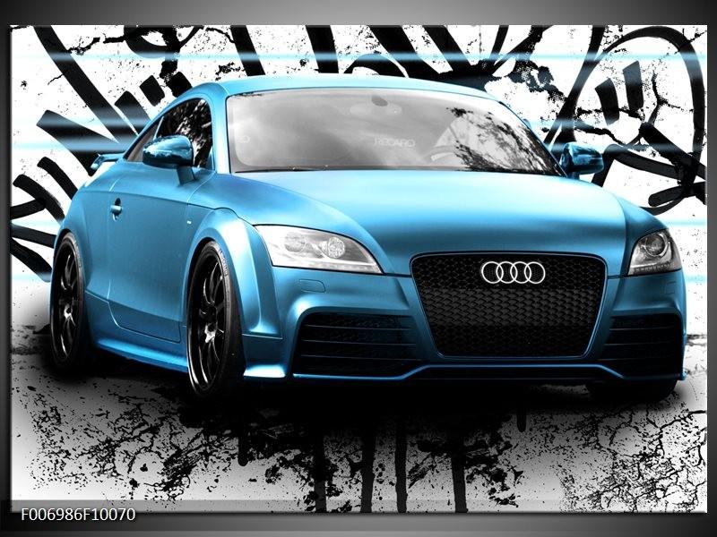Canvas Schilderij Audi, Auto | Blauw, Zwart, Grijs