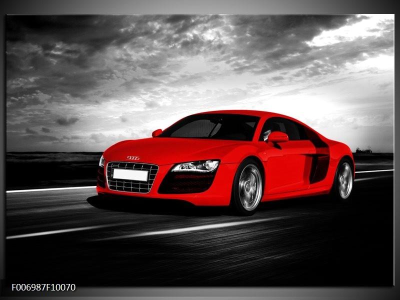 Canvas Schilderij Audi, Auto | Zwart, Grijs, Rood