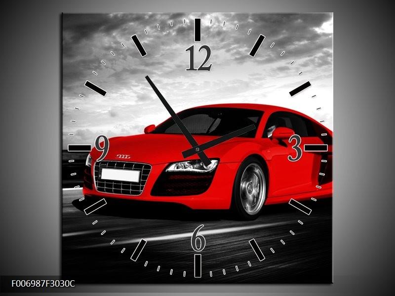 Wandklok Schilderij Audi, Auto | Zwart, Grijs, Rood