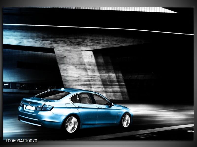 Canvas Schilderij Auto | Grijs, Zwart, Blauw