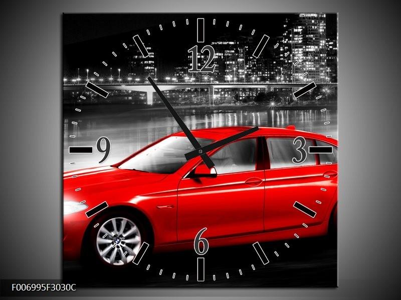 Wandklok Schilderij Auto, BMW | Rood, Zwart, Grijs