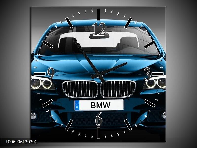 Wandklok Schilderij Auto, BMW   Blauw, Zwart, Grijs