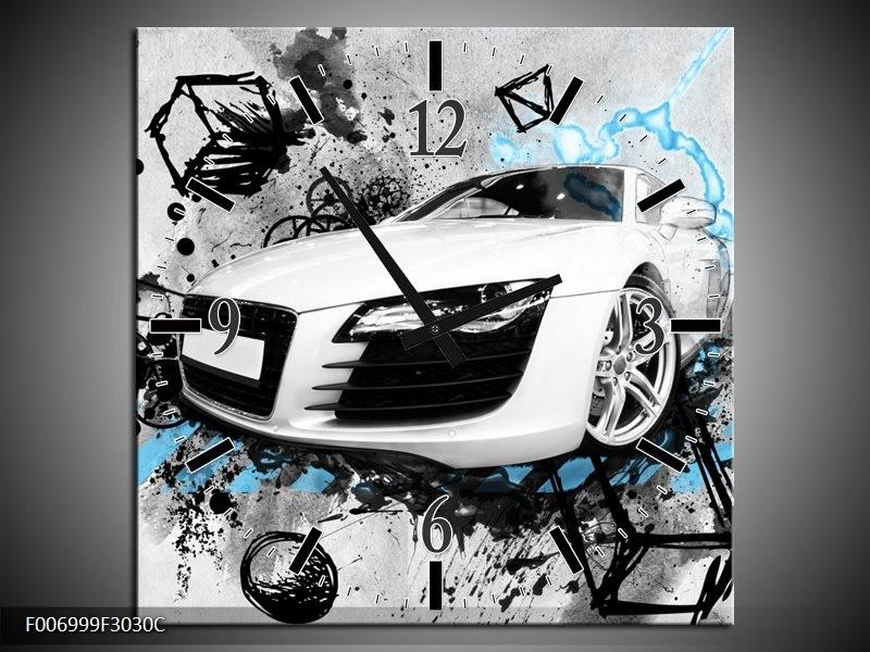 Wandklok Schilderij Auto, Audi | Wit, Blauw, Zwart