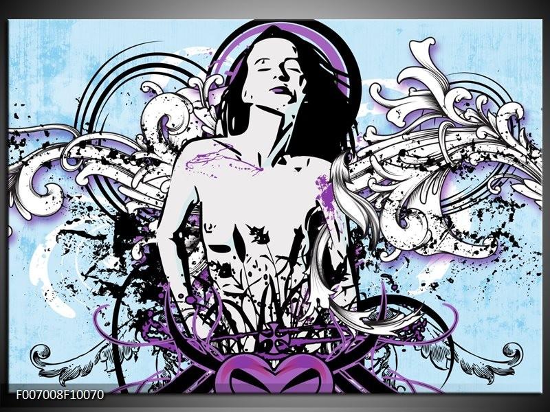 Canvas Schilderij Vrouw, Popart | Blauw, Paars, Wit