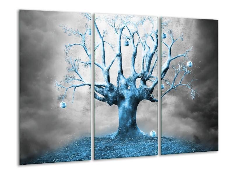 Glasschilderij Boom, Abstract | Blauw, Grijs, Wit | 120x80cm 3Luik