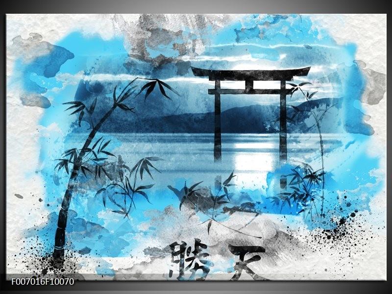 Canvas Schilderij Chinese Poort | Blauw, Grijs, Zwart