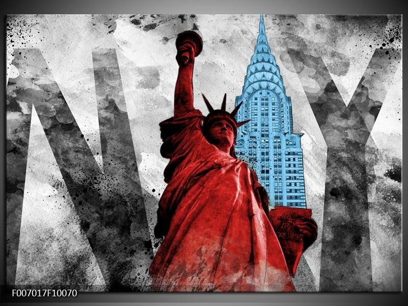 Canvas Schilderij New York, Vrijheidsbeeld | Rood, Grijs, Blauw