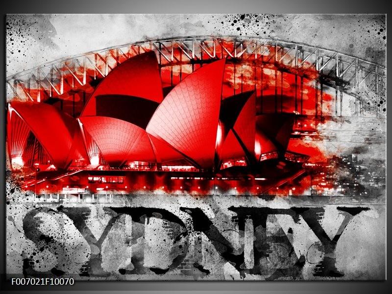 Canvas Schilderij Sydney, Steden | Rood, Zwart, Grijs