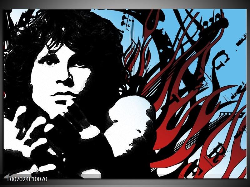 Canvas Schilderij Popart | Zwart, Rood, Blauw