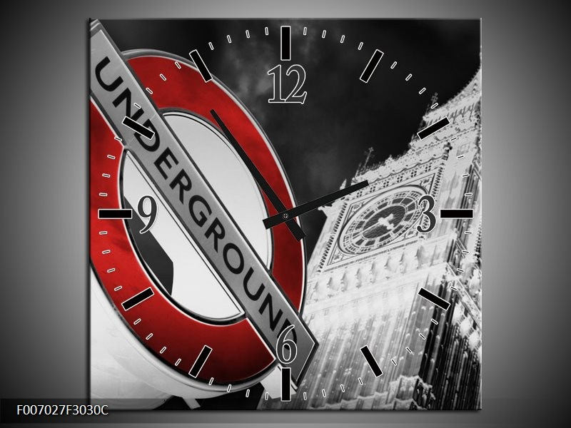 Wandklok Schilderij Underground, England | Grijs, Rood, Zwart
