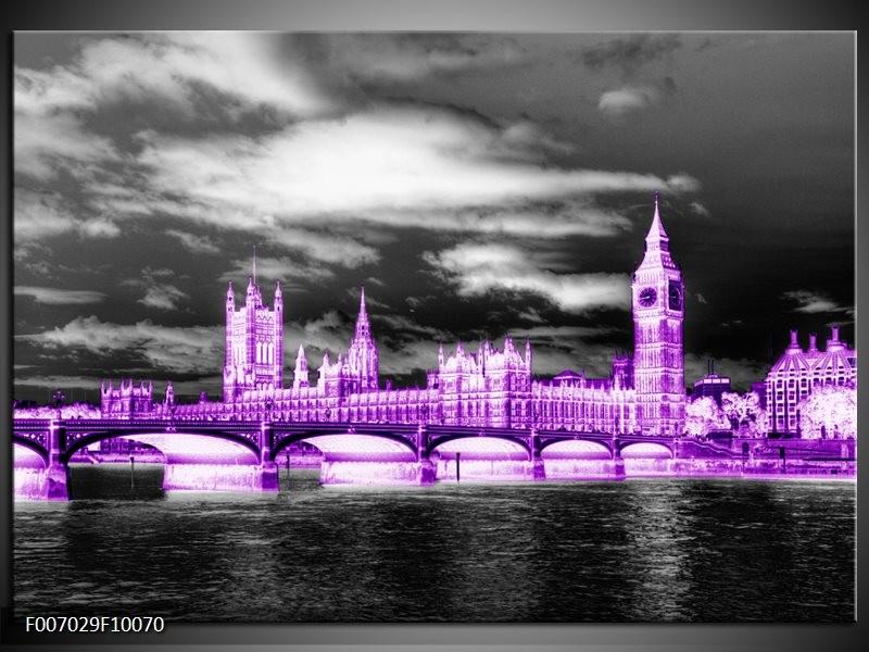 Canvas Schilderij Engeland, London | Paars, Zwart, Wit