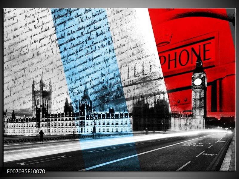Canvas Schilderij Engeland, London | Zwart, Blauw, Rood
