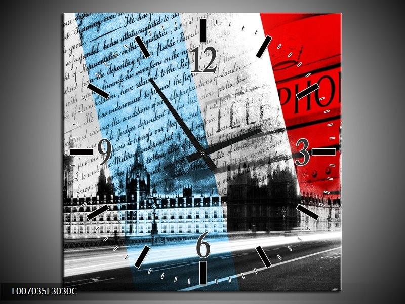 Wandklok Schilderij England, London | Zwart, Blauw, Rood