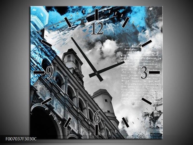 Wandklok Schilderij Steden | Zwart, Blauw, Rood