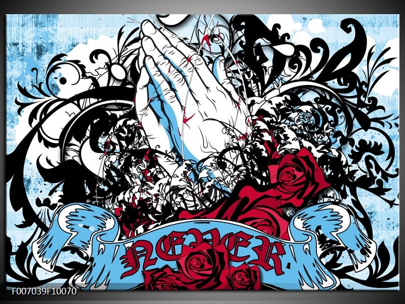Canvas Schilderij Popart, Handen   Blauw, Rood, Zwart