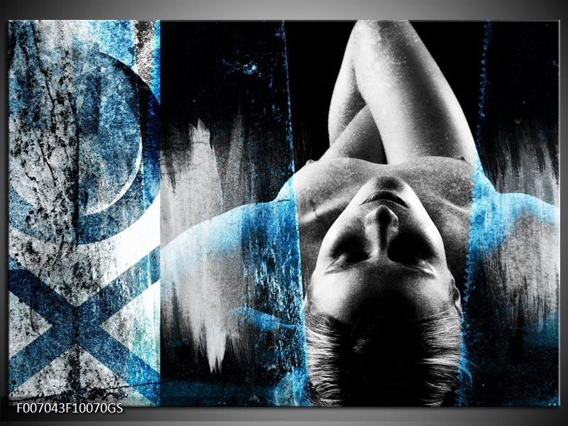 Beste Glas Schilderij Vrouw, Kunst   Zwart, Wit, Blauw MR-32