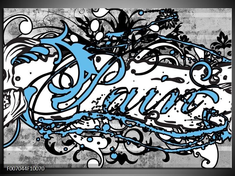 Canvas Schilderij Popart | Zwart, Wit, Blauw