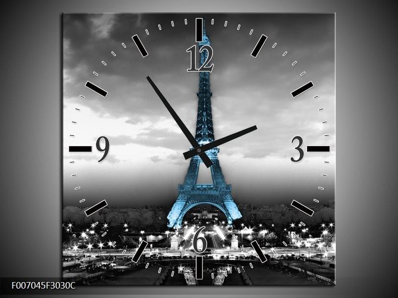 Wandklok Schilderij Parijs, Eiffeltoren   Zwart, Wit, Blauw