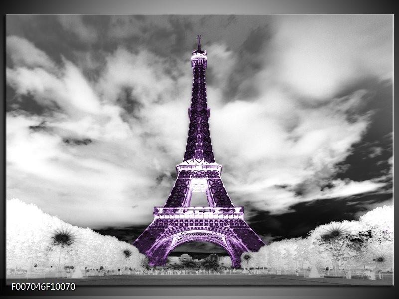 Canvas Schilderij Parijs, Eiffeltoren | Zwart, Wit, Paars