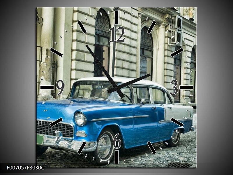 Wandklok Schilderij Oldtimer, Auto | Blauw, Groen, Grijs
