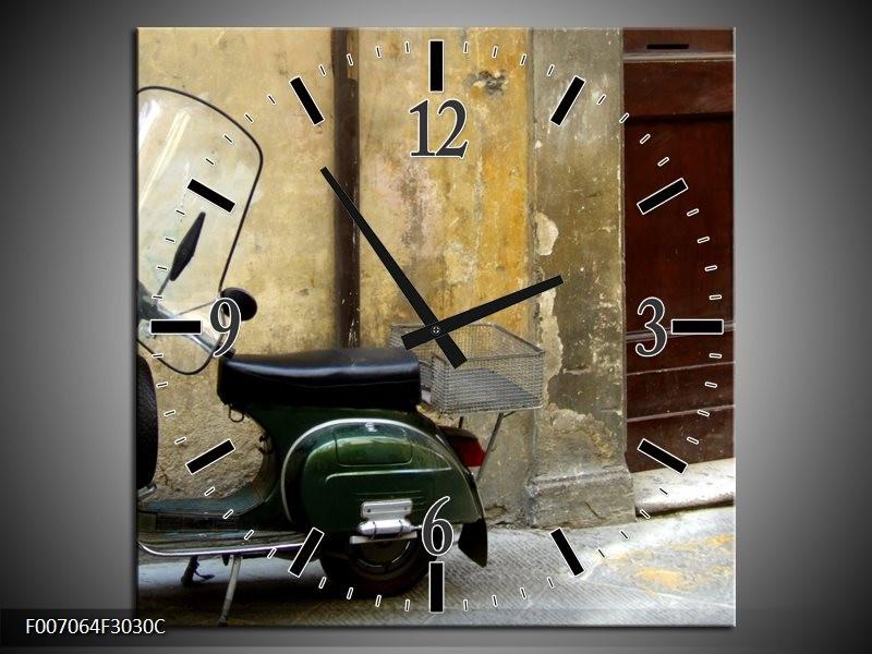 Wandklok Schilderij Motor, Scooter | Bruin, Geel, Groen