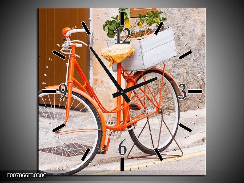 Wandklok Schilderij Fiets | Oranje, Geel, Bruin