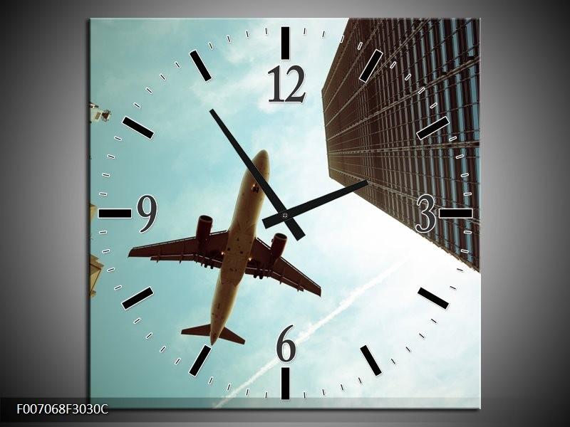 Wandklok Schilderij Steden, Vliegtuig | Groen, Blauw, Grijs