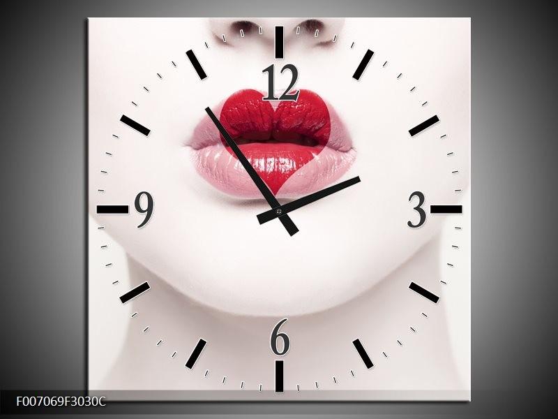 Wandklok Schilderij Lippen, Hart, Gezicht | Wit, Rood, Crème