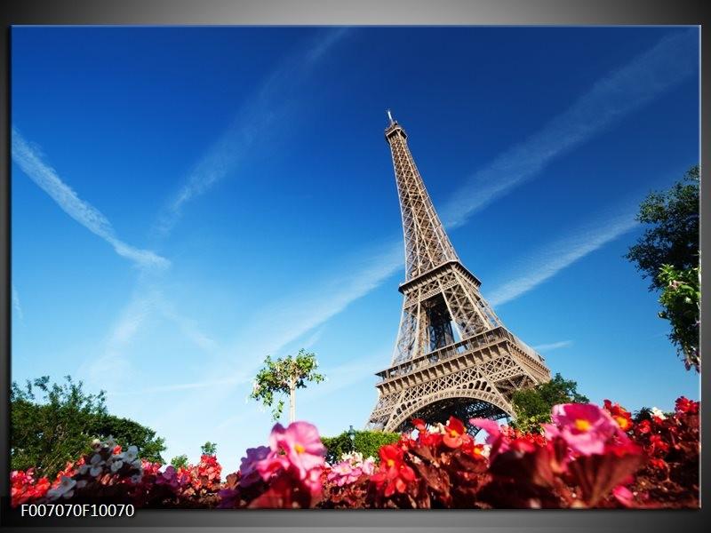 Canvas Schilderij Parijs, Eiffeltoren | Blauw, Rood, Groen