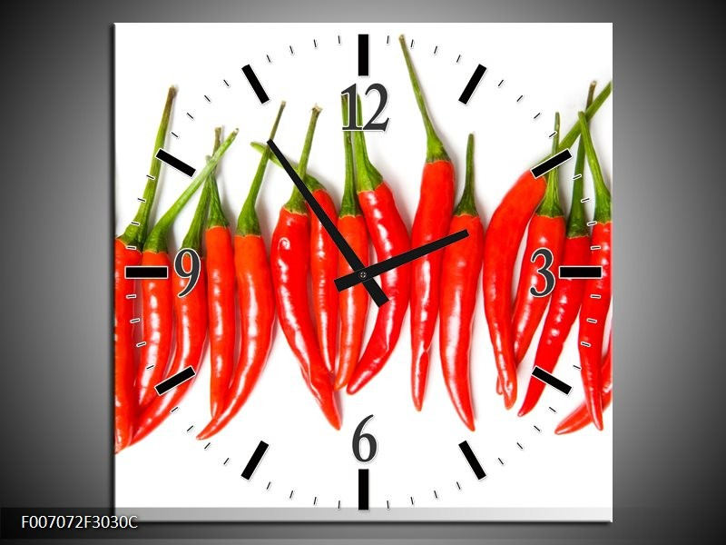 Wandklok Schilderij Paprika, Keuken | Wit, Rood, Groen