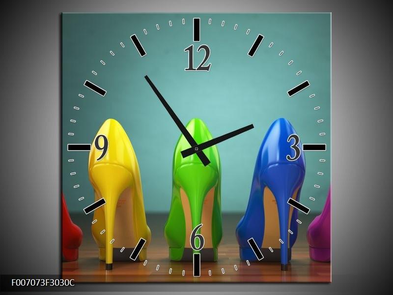 Wandklok Schilderij Schoenen, Vrouw | Groen, Blauw, Rood