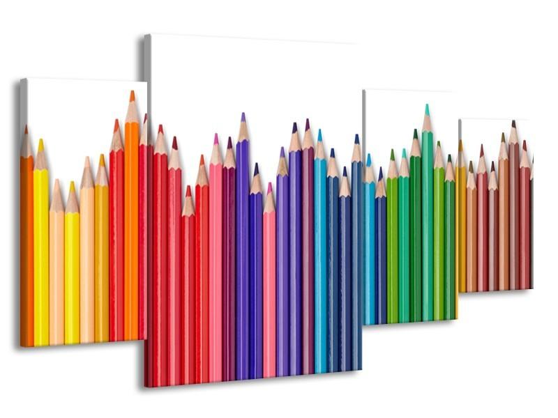 Canvas Schilderij Kleurpotloden   Wit, Rood, Blauw   160x90cm 4Luik