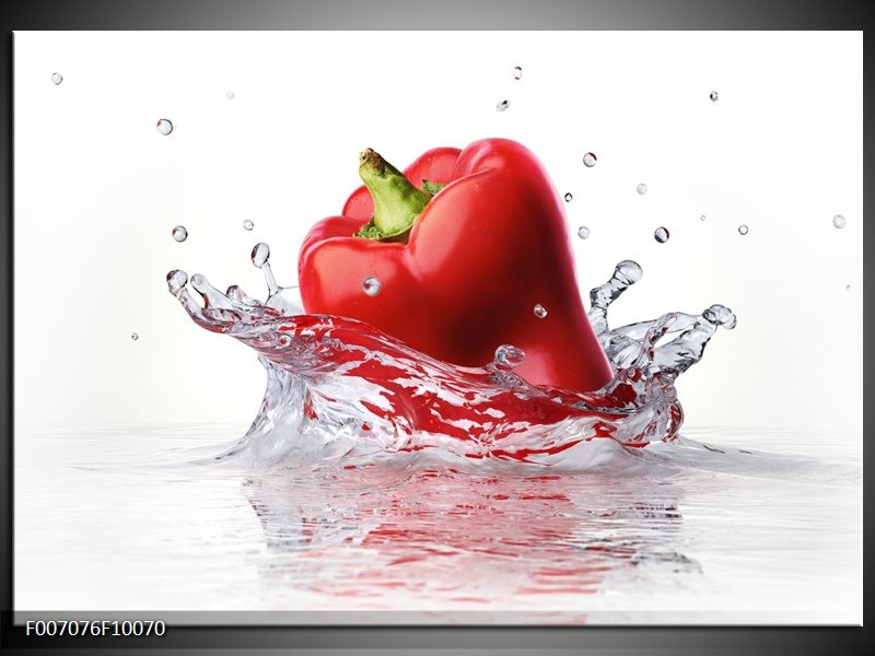 Canvas Schilderij Paprika, Keuken | Wit, Rood