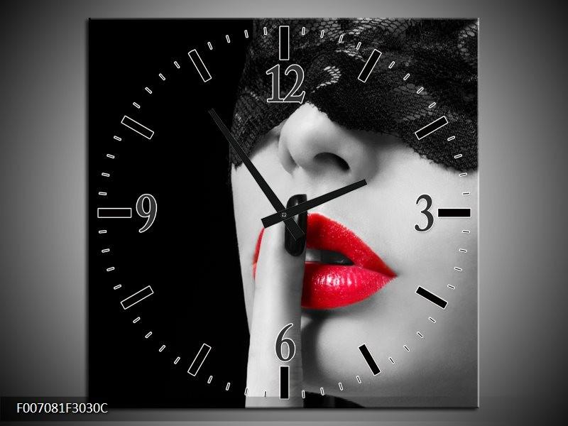 Wandklok Schilderij Vrouw, Lippen | Zwart, Grijs, Rood