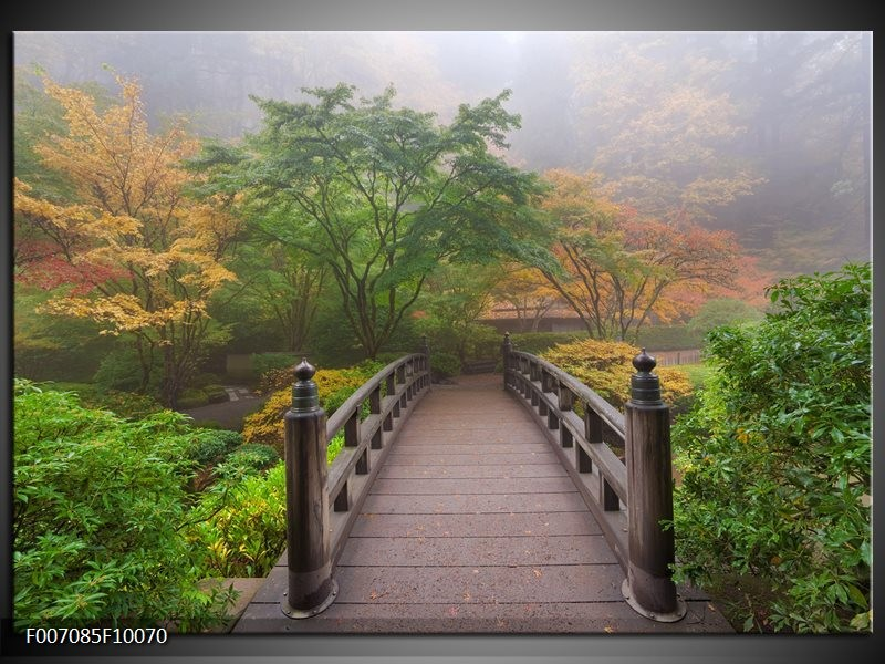 Canvas schilderij natuur brug groen bruin grijs for Schilderij natuur
