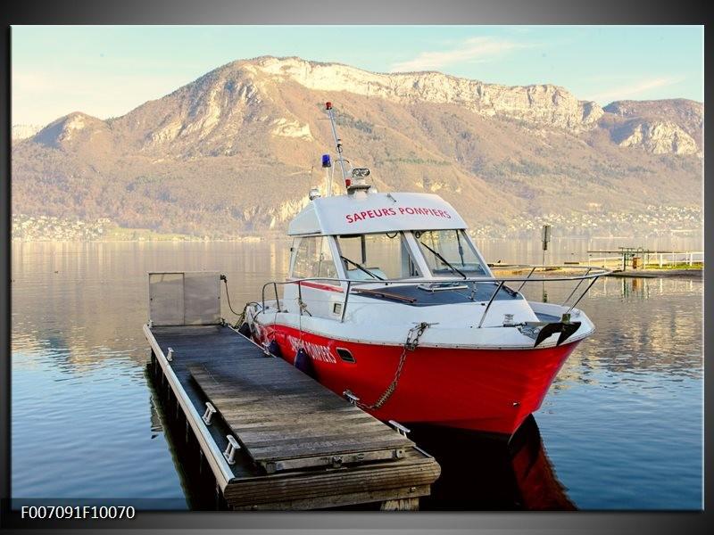 Canvas Schilderij Boot, Bergen | Rood, Grijs, Wit