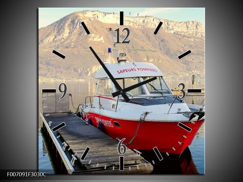 Wandklok Schilderij Boot, Bergen | Rood, Grijs, Wit