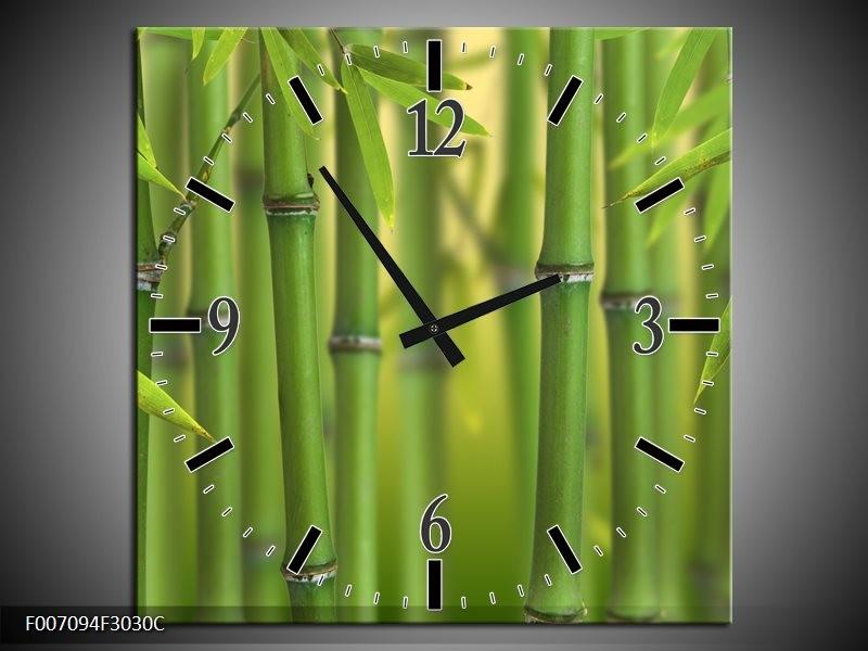 Wandklok Schilderij Bambus, Natuur | Groen, Geel