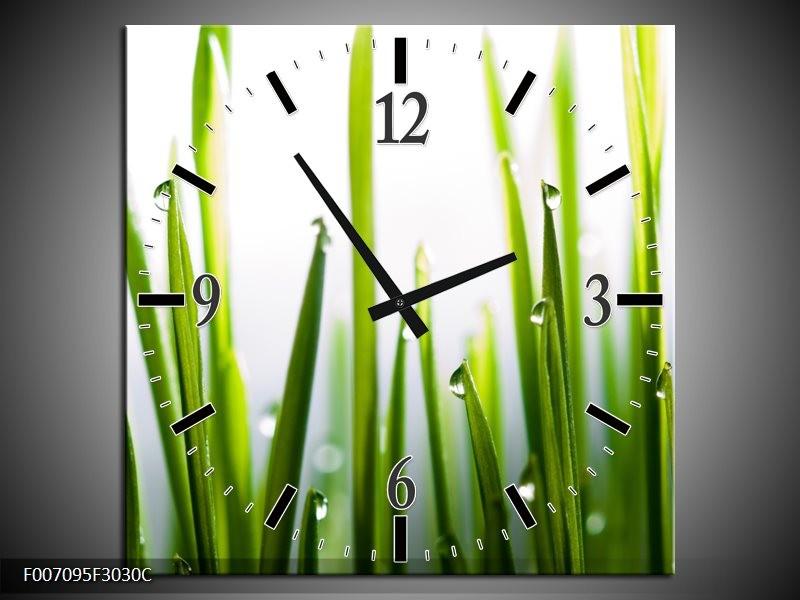 Wandklok Schilderij Gras, Natuur | Groen, Geel, Wit