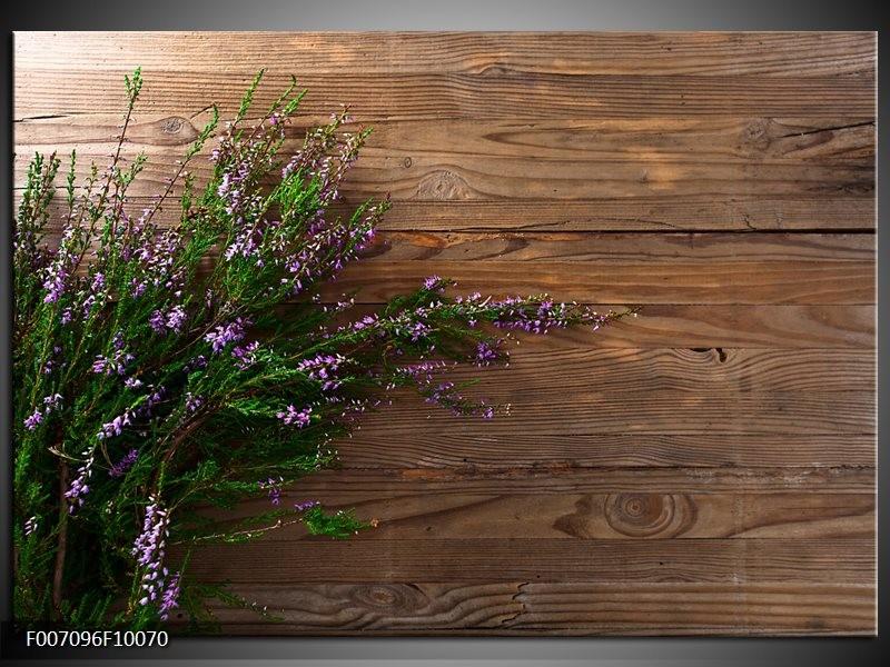 Canvas Schilderij Lavendel, Landelijk | Bruin, Paars, Groen